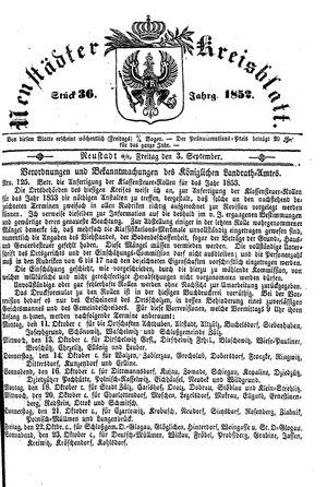Neustädter Kreisblatt vom 03.09.1852