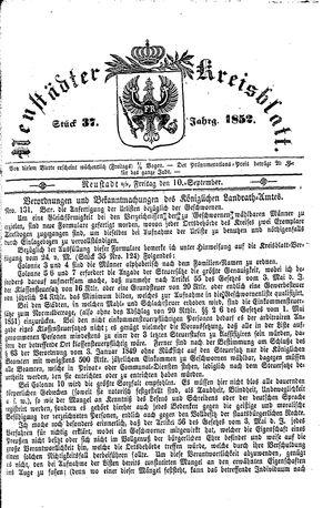 Neustädter Kreisblatt vom 10.09.1852