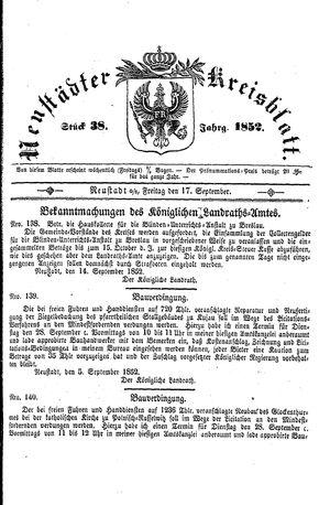 Neustädter Kreisblatt vom 17.09.1852
