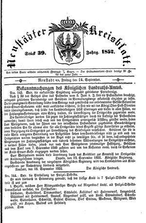Neustädter Kreisblatt vom 24.09.1852