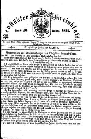 Neustädter Kreisblatt vom 01.10.1852