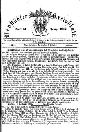 Neustädter Kreisblatt vom 08.10.1852
