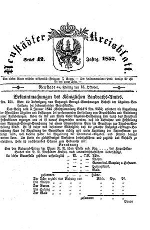 Neustädter Kreisblatt vom 15.10.1852