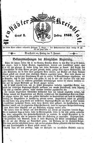 Neustädter Kreisblatt vom 07.01.1853