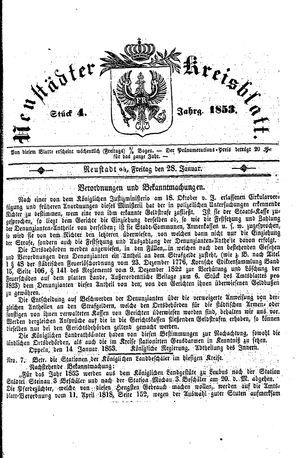 Neustädter Kreisblatt vom 28.01.1853