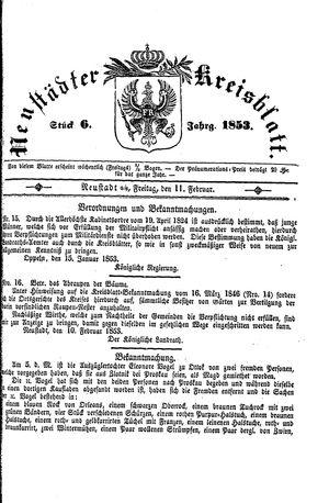 Neustädter Kreisblatt vom 11.02.1853
