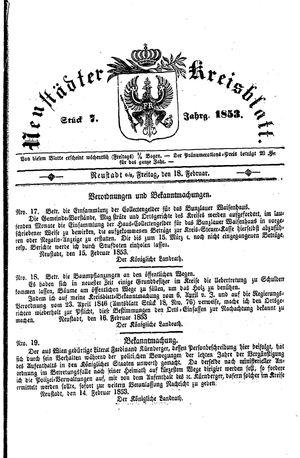 Neustädter Kreisblatt vom 18.02.1853