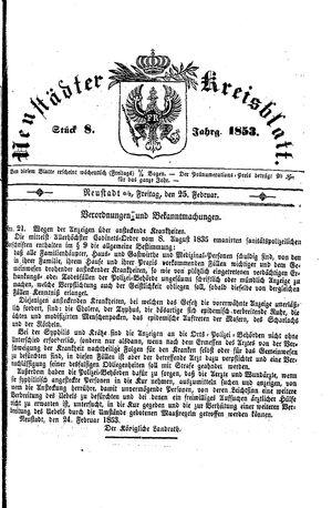 Neustädter Kreisblatt vom 25.02.1853