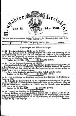 Neustädter Kreisblatt vom 18.03.1853