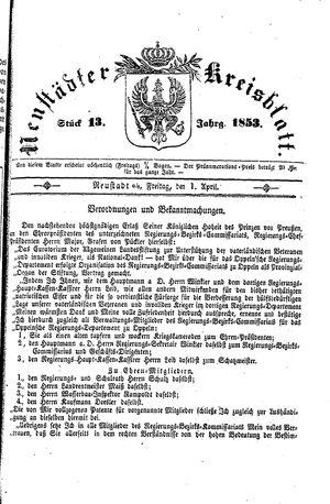 Neustädter Kreisblatt vom 01.04.1853