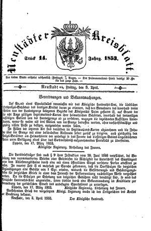 Neustädter Kreisblatt vom 08.04.1853