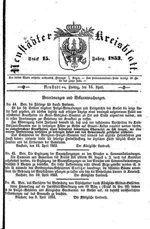 Neustädter Kreisblatt on Apr 15, 1853
