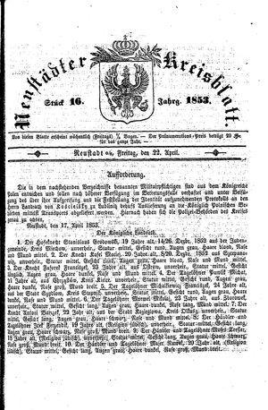 Neustädter Kreisblatt vom 22.04.1853