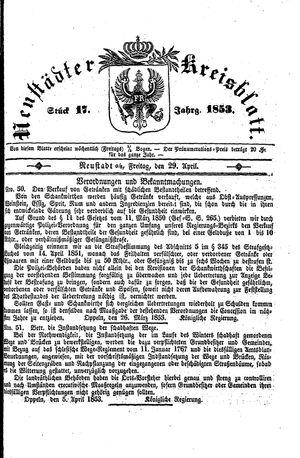 Neustädter Kreisblatt vom 29.04.1853