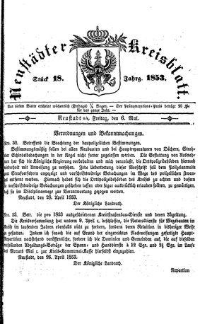 Neustädter Kreisblatt vom 06.05.1853