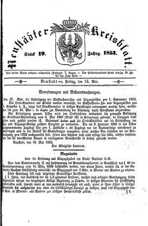 Neustädter Kreisblatt vom 13.05.1853