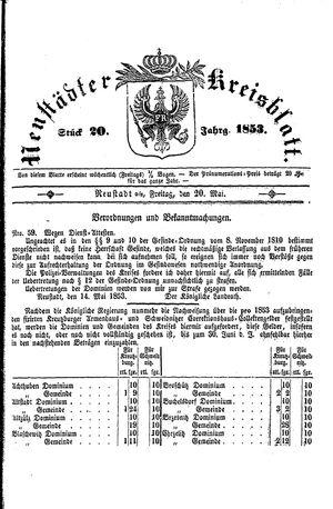Neustädter Kreisblatt vom 20.05.1853