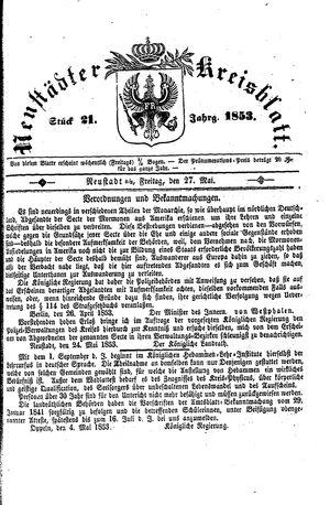 Neustädter Kreisblatt vom 27.05.1853