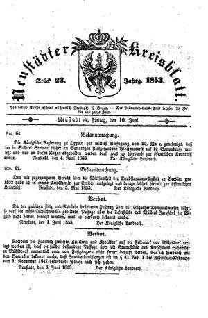 Neustädter Kreisblatt vom 10.06.1853