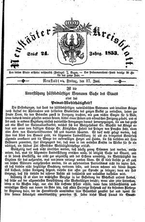 Neustädter Kreisblatt vom 17.06.1853