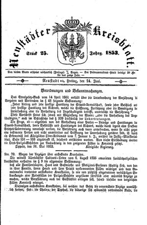 Neustädter Kreisblatt vom 24.06.1853
