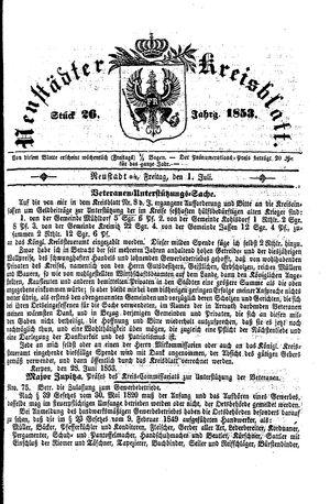 Neustädter Kreisblatt vom 01.07.1853