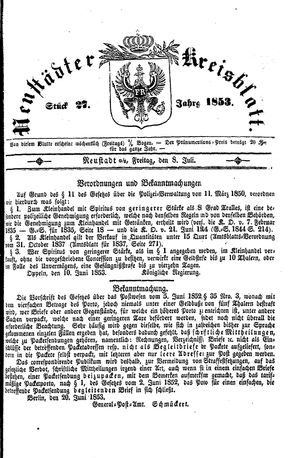 Neustädter Kreisblatt vom 08.07.1853