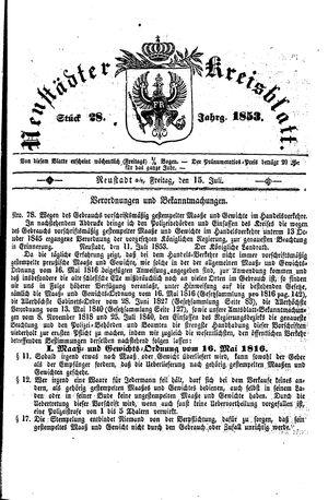 Neustädter Kreisblatt vom 15.07.1853