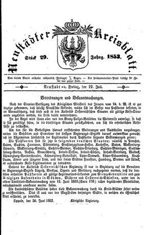 Neustädter Kreisblatt vom 22.07.1853