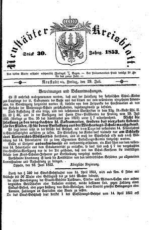 Neustädter Kreisblatt vom 29.07.1853