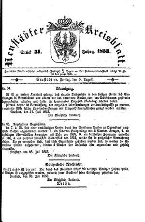 Neustädter Kreisblatt on Aug 5, 1853