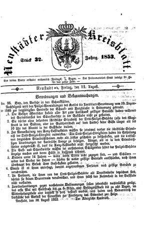 Neustädter Kreisblatt vom 12.08.1853