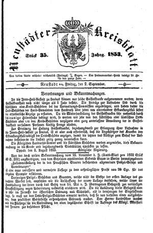 Neustädter Kreisblatt vom 02.09.1853