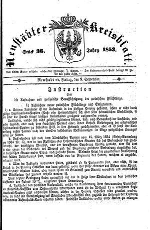 Neustädter Kreisblatt vom 09.09.1853