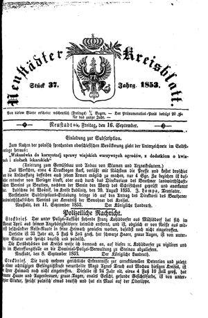 Neustädter Kreisblatt vom 16.09.1853