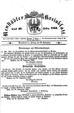 Neustädter Kreisblatt vom 23.09.1853