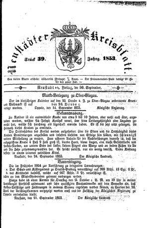 Neustädter Kreisblatt vom 30.09.1853