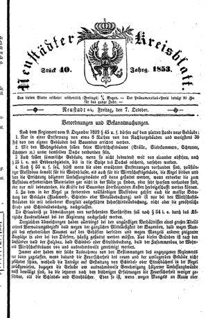 Neustädter Kreisblatt vom 07.10.1853