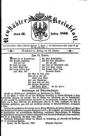 Neustädter Kreisblatt vom 14.10.1853