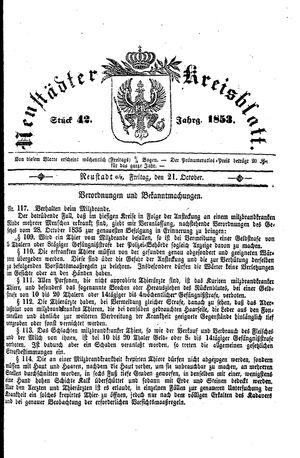 Neustädter Kreisblatt vom 21.10.1853