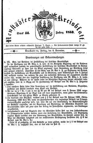 Neustädter Kreisblatt vom 04.11.1853