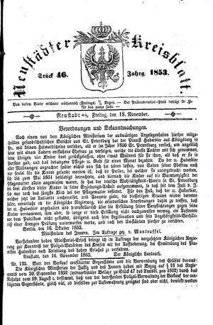 Neustädter Kreisblatt vom 18.11.1853