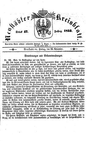 Neustädter Kreisblatt vom 25.11.1853