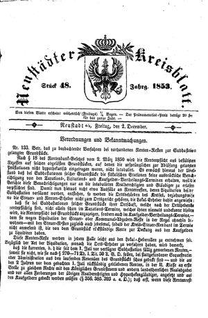 Neustädter Kreisblatt on Dec 2, 1853