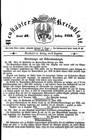 Neustädter Kreisblatt vom 09.12.1853