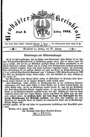 Neustädter Kreisblatt vom 27.01.1854