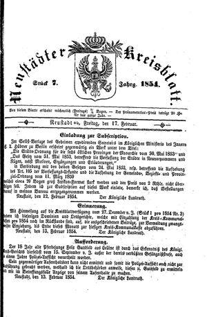 Neustädter Kreisblatt vom 17.02.1854