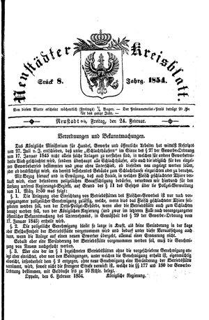 Neustädter Kreisblatt vom 24.02.1854