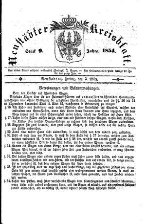 Neustädter Kreisblatt vom 03.03.1854
