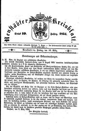 Neustädter Kreisblatt vom 10.03.1854